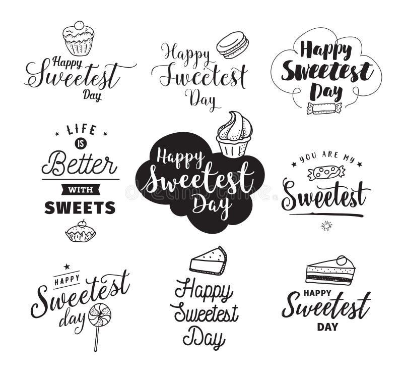 Счастливый самый сладостный день иллюстрация вектора