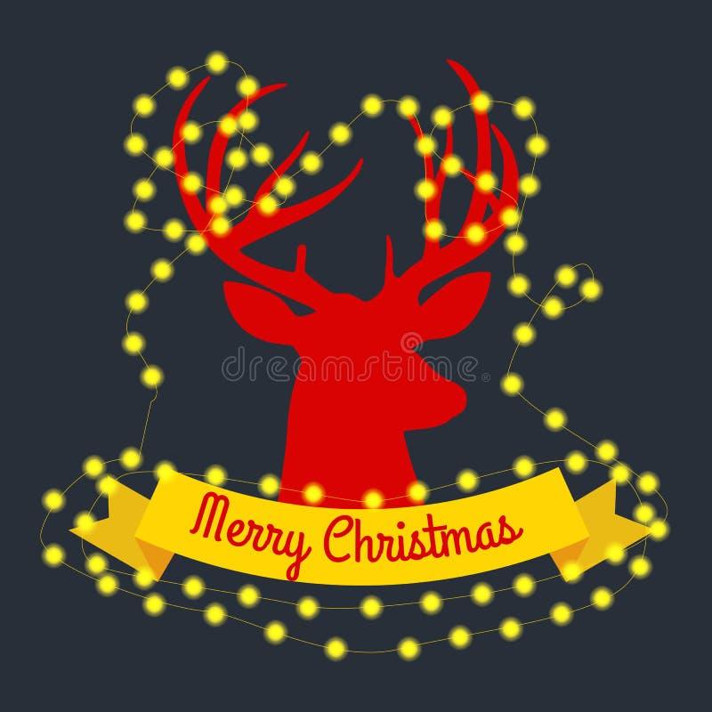 Счастливый северный олень накануне светов Нового Года и рождества в рожках с украшениями иллюстрация штока