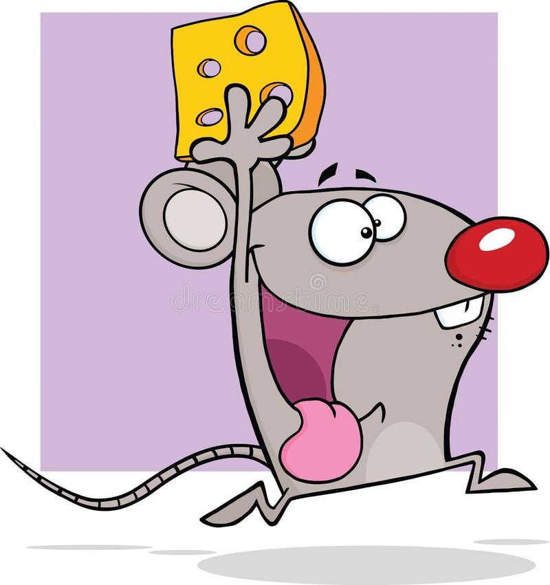 Счастливый серый характер талисмана шаржа мыши бежать с сыром иллюстрация вектора