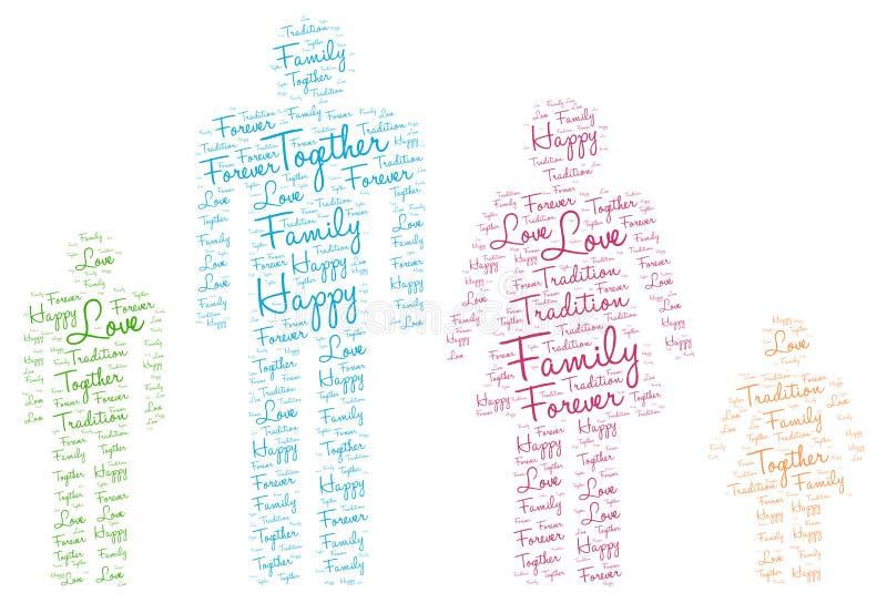 Счастливый силуэт семьи: Бирка облака слова влюбленности иллюстрация штока