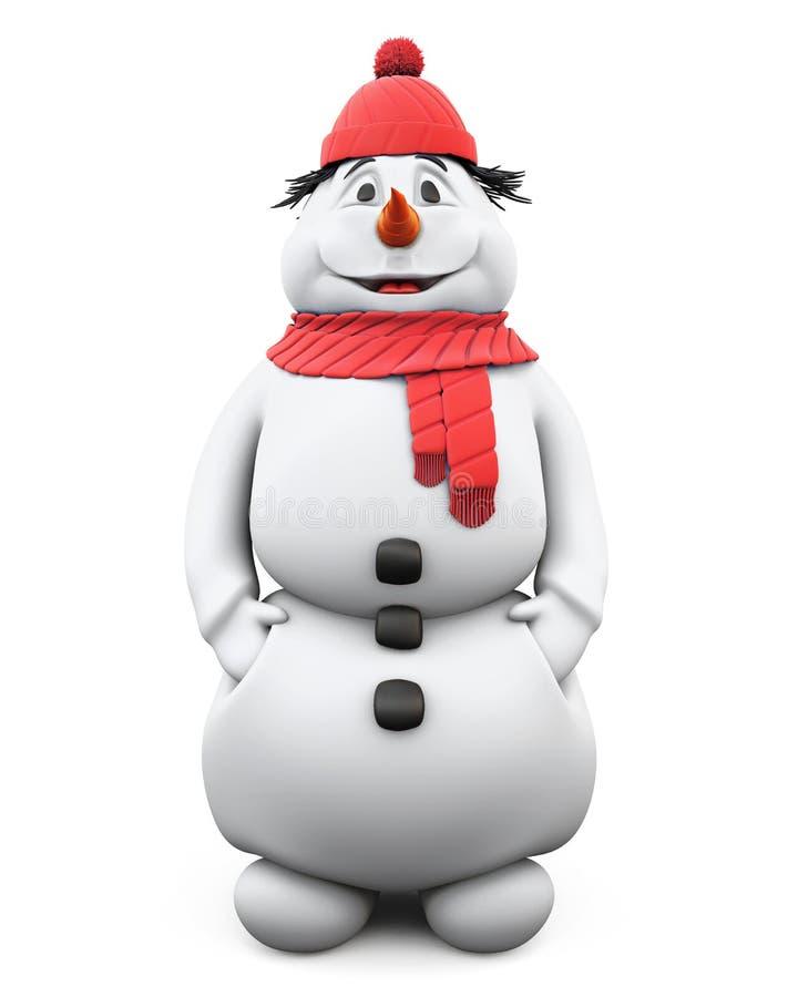 Счастливый снеговик в красных шляпе и шарфе 3d бесплатная иллюстрация