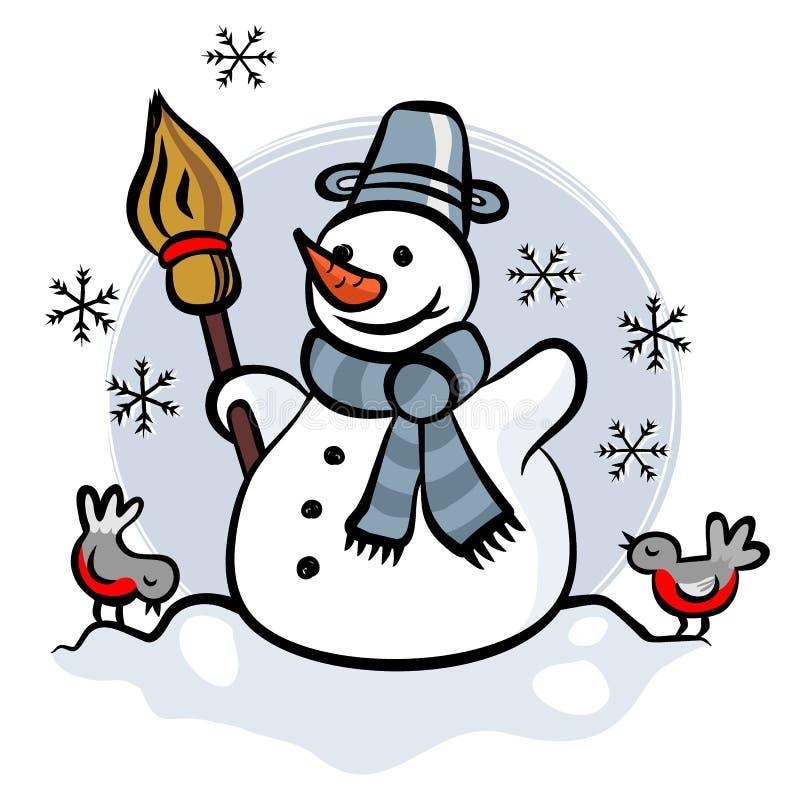 Счастливый снеговик с illus 2 маленьких птиц красочным иллюстрация вектора