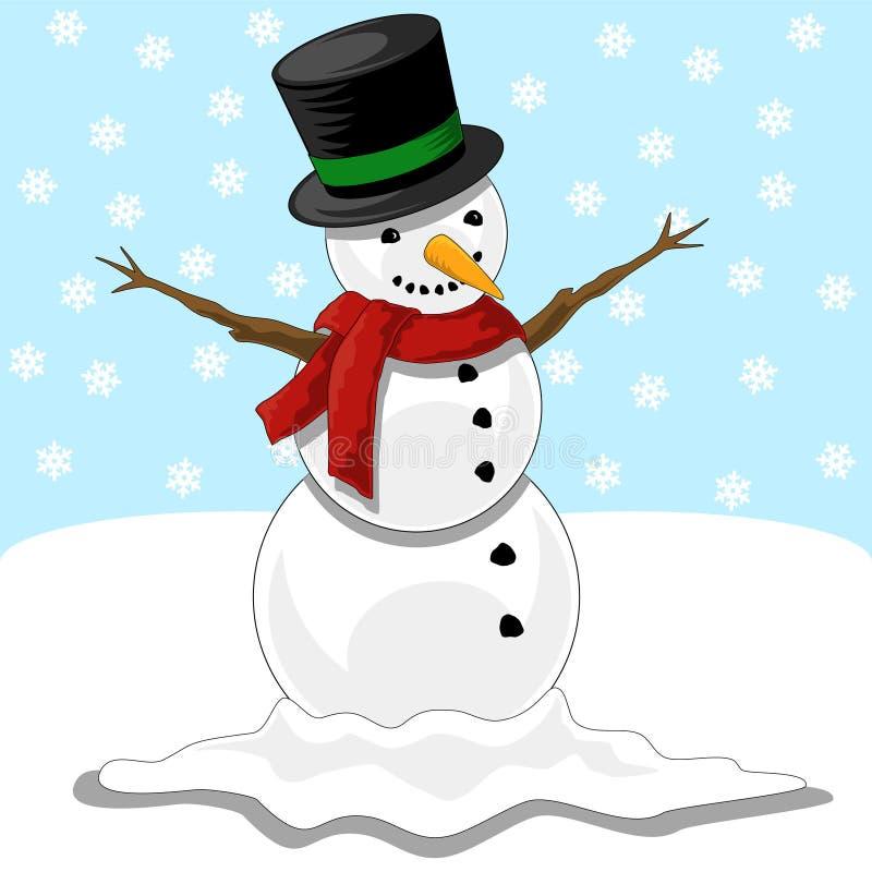 счастливый снеговик иллюстрация вектора