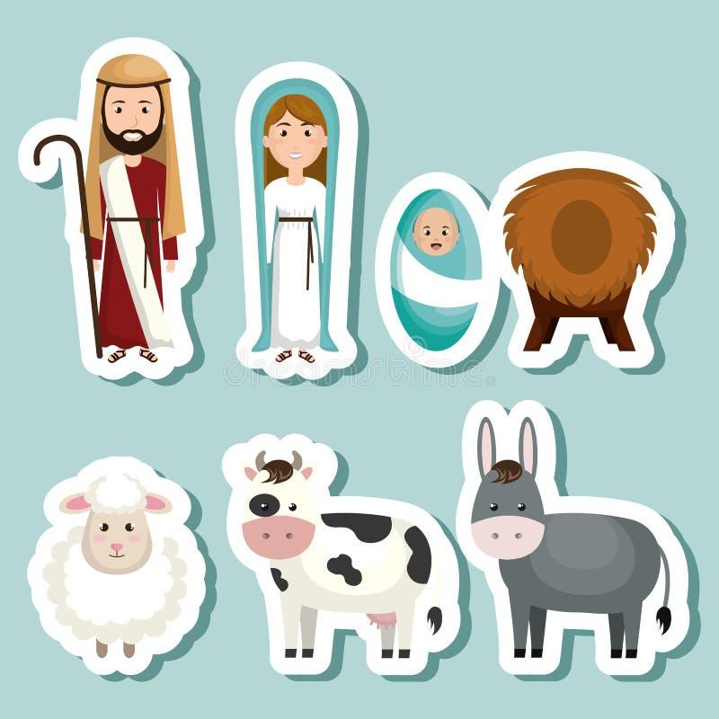 счастливый с Рождеством Христовым характер кормушки бесплатная иллюстрация