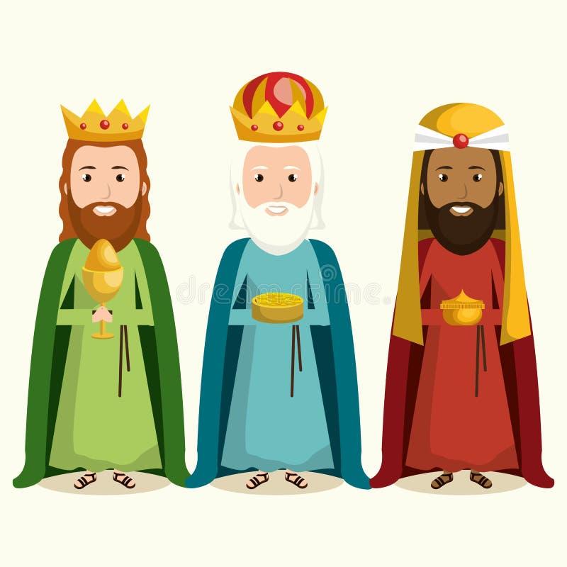 счастливый с Рождеством Христовым характер кормушки иллюстрация вектора
