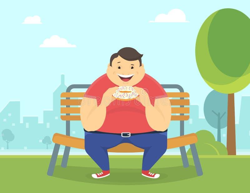 Счастливый тучный человек есть большой донут в парке иллюстрация штока