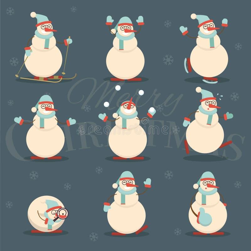 Счастливый усмехаясь персонаж из мультфильма снеговика рождества в различном pos иллюстрация вектора