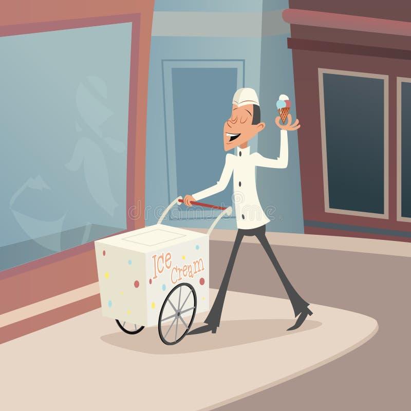 Счастливый усмехаясь продавец мороженого с тележкой на улице иллюстрация штока
