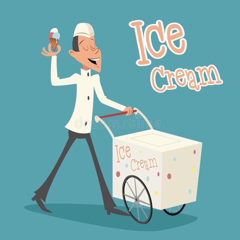Счастливый усмехаясь продавец мороженого с тележкой ретро иллюстрация вектора