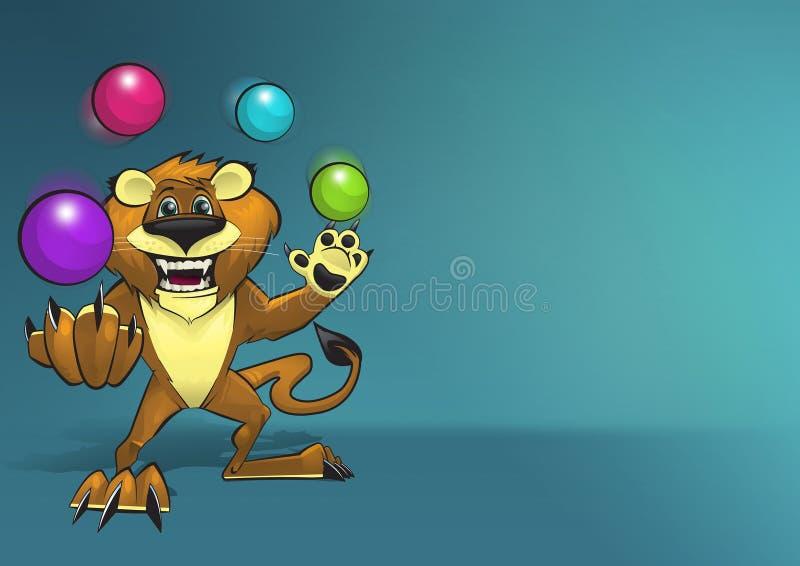 Счастливый усмехаясь характер льва жонглируя 4 красочными шариками иллюстрация вектора