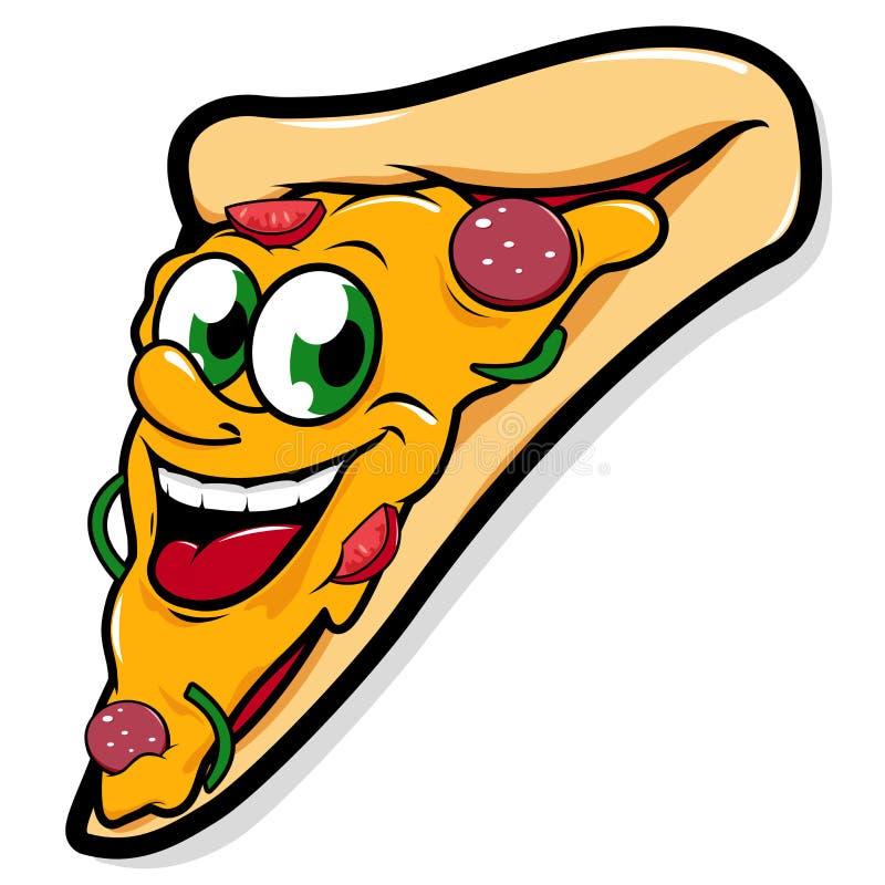 Счастливый характер куска пиццы иллюстрация вектора