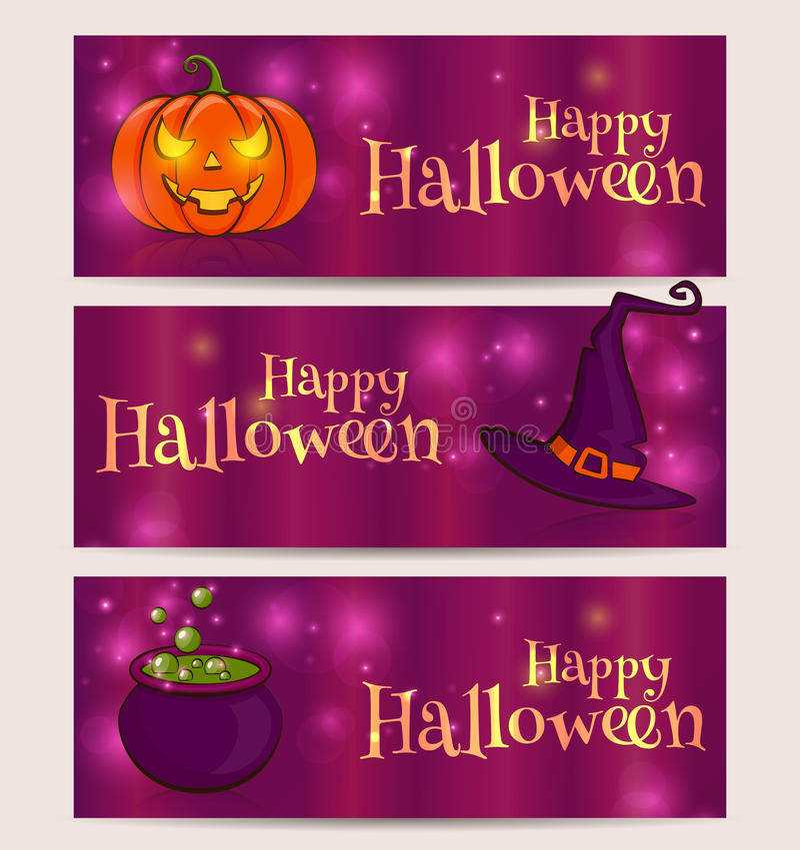 Счастливый хеллоуин! Комплект вектора знамен праздника бесплатная иллюстрация