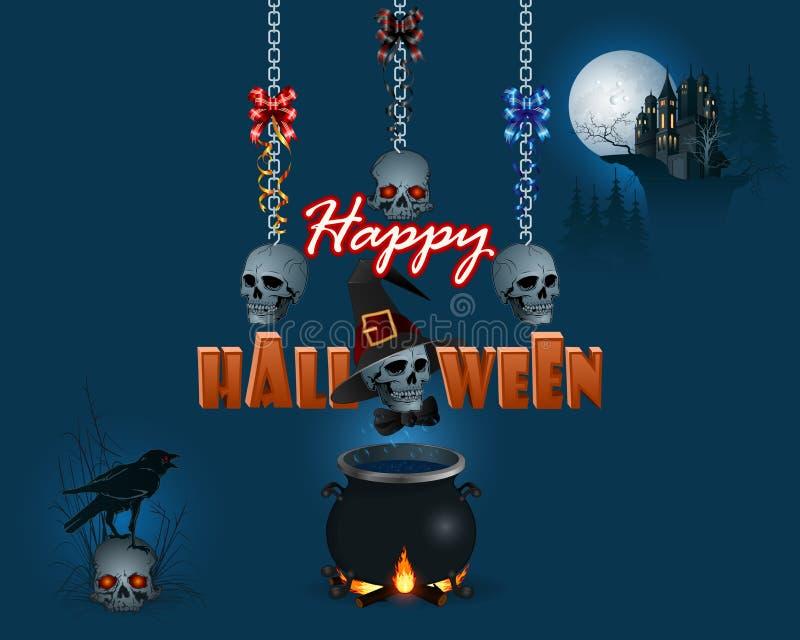 Счастливый хеллоуин, предпосылка с волшебным котлом и преследовать замком иллюстрация вектора