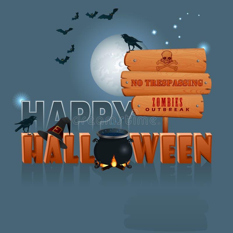 Счастливый хеллоуин, предпосылка с котлом ведьмы волшебным и деревянным знаком иллюстрация вектора