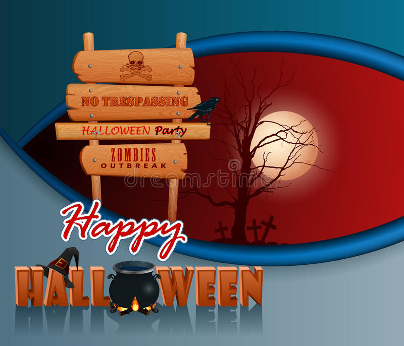 Счастливый хеллоуин, предпосылка с котлом ведьмы волшебным и деревянным знаком иллюстрация штока
