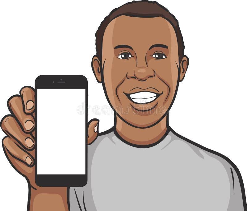 Счастливый чернокожий человек показывая передвижной app на умном телефоне бесплатная иллюстрация
