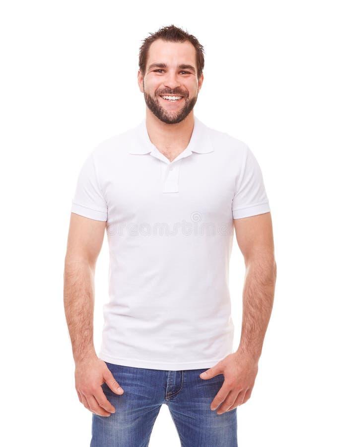 Счастливый человек в рубашке поло стоковое изображение rf