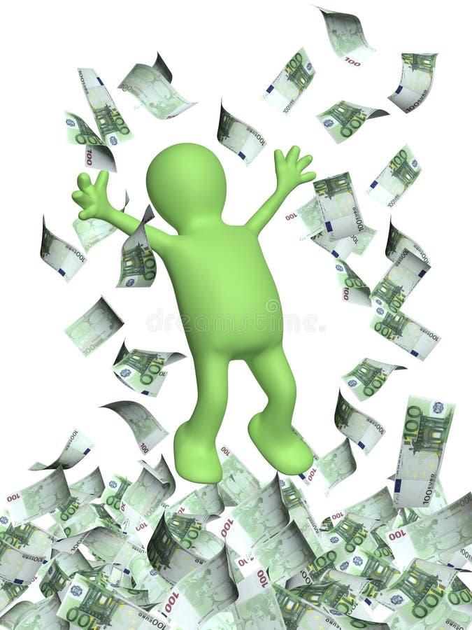 Счастливый человек 3d и деньги идут дождь с банкнотами евро иллюстрация штока
