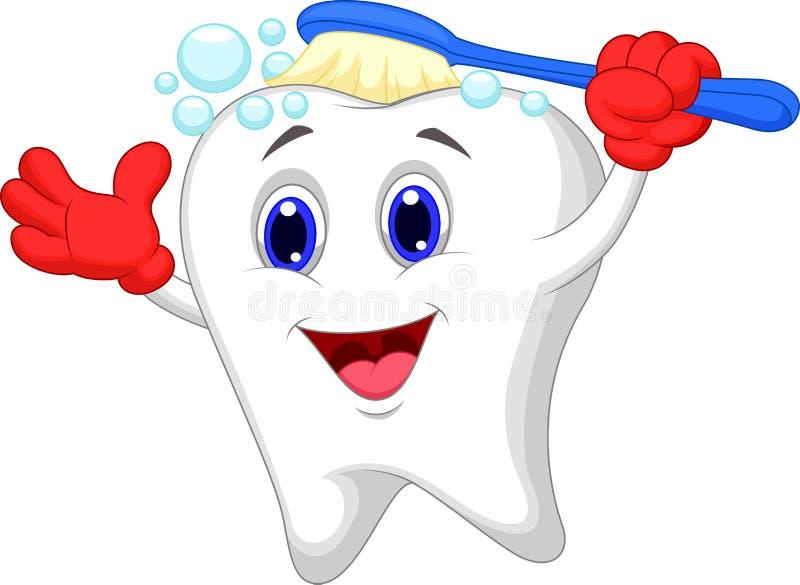 Счастливый чистить щеткой шаржа зуба иллюстрация штока