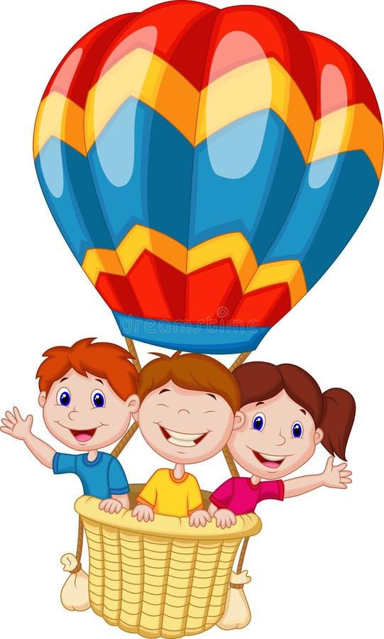 Счастливый шарж детей ехать горячий воздушный шар бесплатная иллюстрация