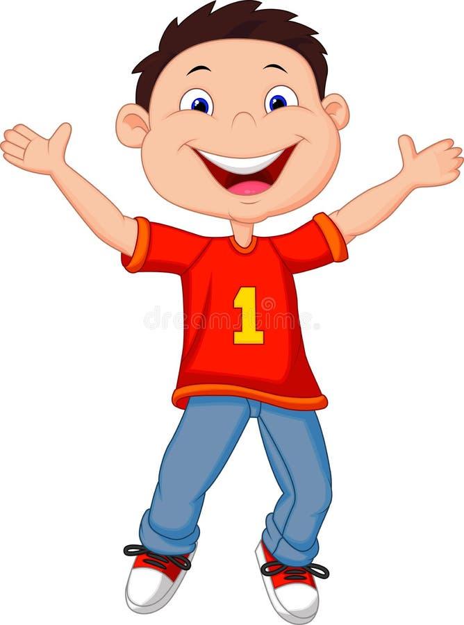 Счастливый шарж мальчика иллюстрация штока