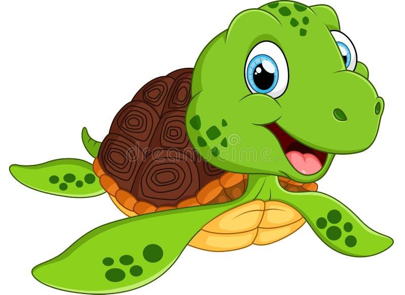 Счастливый шарж морской черепахи иллюстрация штока
