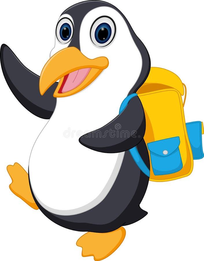 Счастливый шарж пингвина идя к школе иллюстрация штока