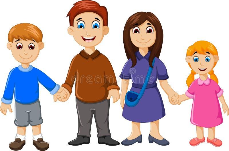Счастливый шарж семьи для вас дизайн бесплатная иллюстрация