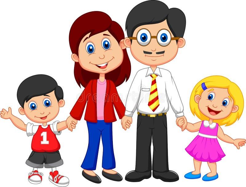 Счастливый шарж семьи бесплатная иллюстрация