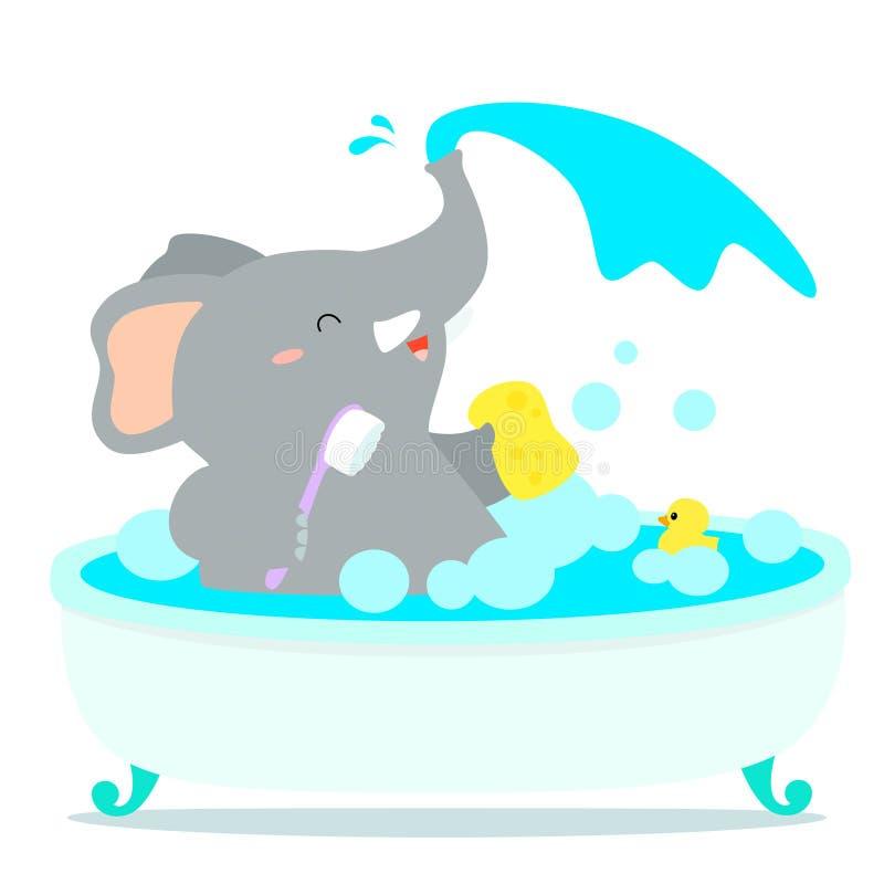 Счастливый шарж слона принимает ванну в ушате бесплатная иллюстрация
