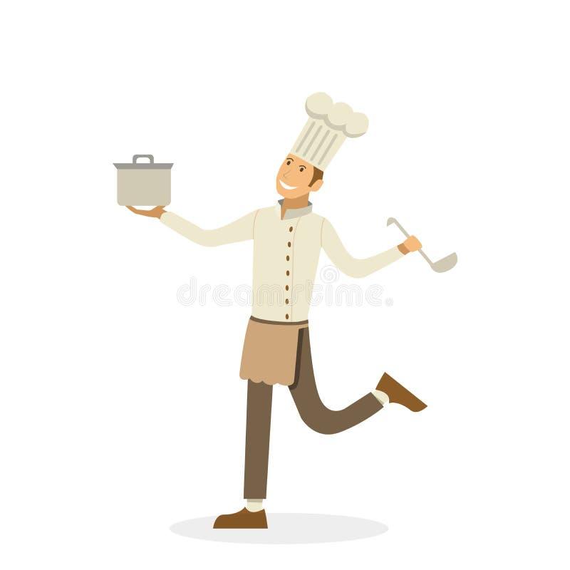 Счастливый шеф-повар с лотком и ковшом в руках изолированных на белой предпосылке в стиле шаржа Вектор, иллюстрация EPS10 иллюстрация вектора