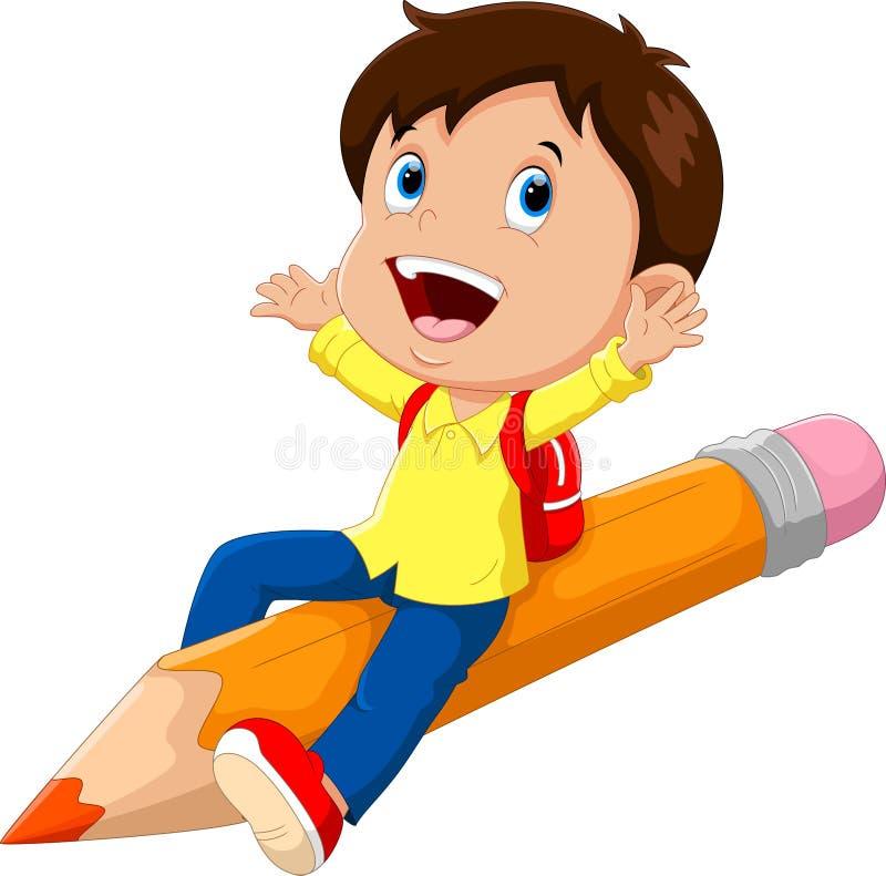 Счастливый школьник сидя на карандаше бесплатная иллюстрация