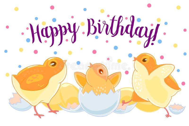 Счастливый щиток цыпленка 2 их крыла Цыпленок насиженный от яичка Newborn бесплатная иллюстрация