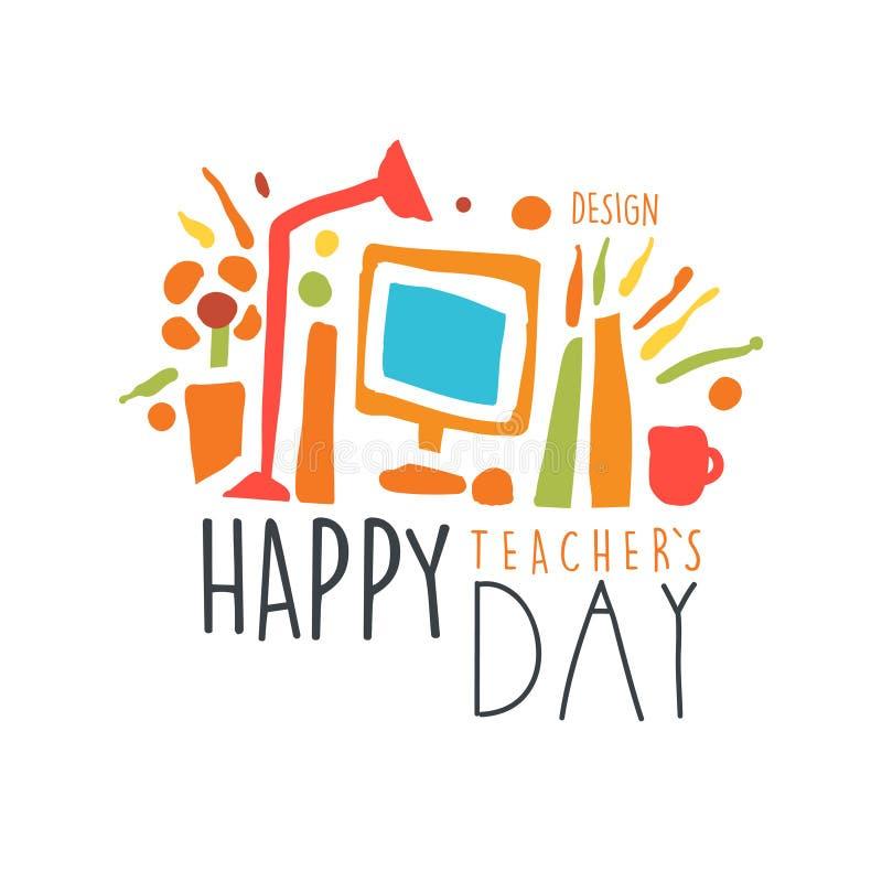 Счастливый ярлык дня учителей, назад к иллюстрации вектора шаблона логотипа школы графической красочной нарисованной рукой иллюстрация штока