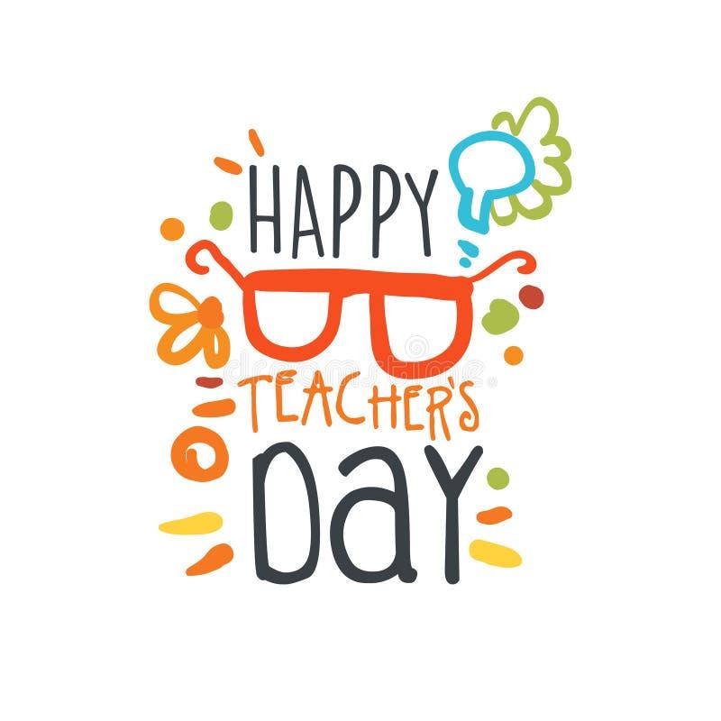 Счастливый ярлык дня учителей, назад к шаблону графика логотипа школы бесплатная иллюстрация