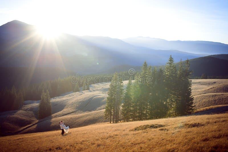 Счастливый groom держит в руках его красивую невесту Чудесный ландшафт гор стоковое изображение rf