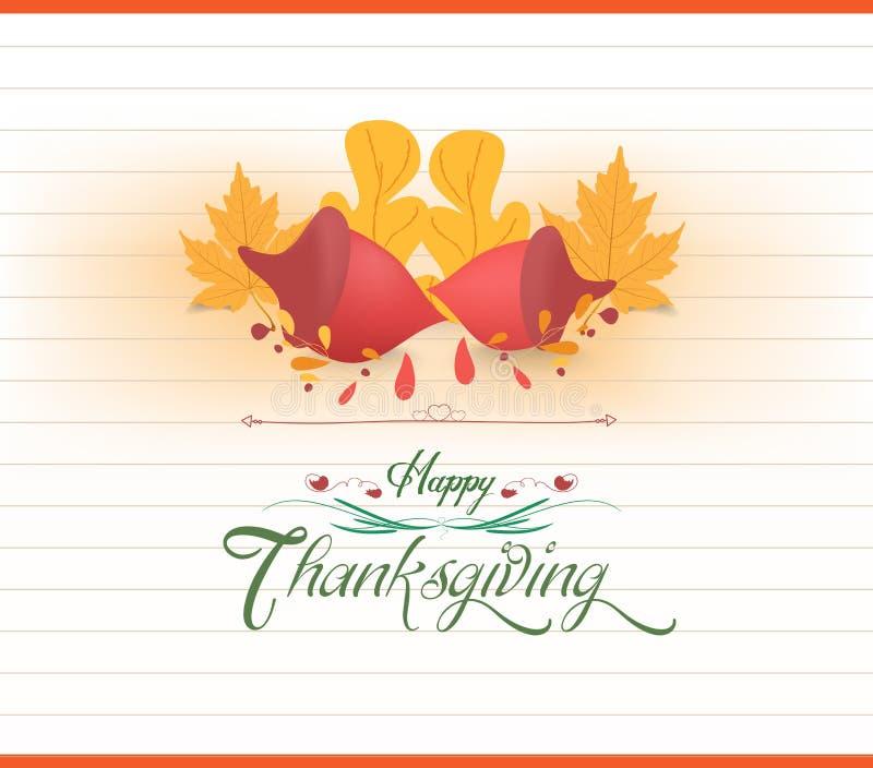 Счастливый thankgiving с поздравительной открыткой жолудей иллюстрация штока