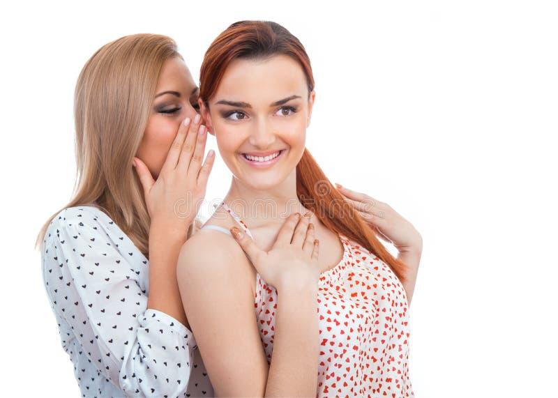 2 счастливых молодых подруги говоря или шепча стоковая фотография