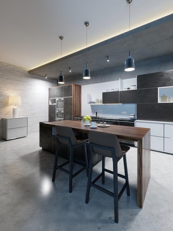 Счетчик Адвокатуры со стульями и остров кухни в современной кухне, выравнивая освещение бесплатная иллюстрация