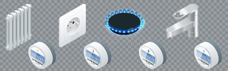 Счетчик воды, сетноой-аналогов электрический счетчик, метр жары, газовый счетчик для частного дома изолированного на прозрачной п иллюстрация штока