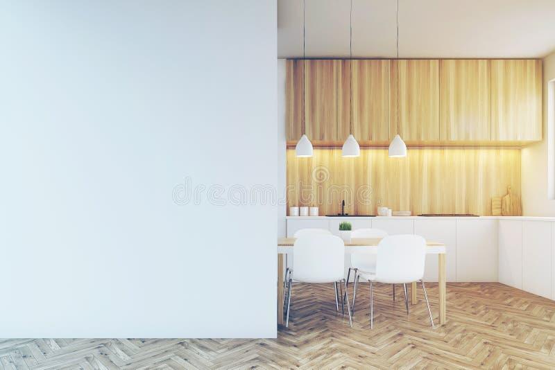 Счетчик кухни, обеденный стол и пустая тонизированная стена, иллюстрация штока