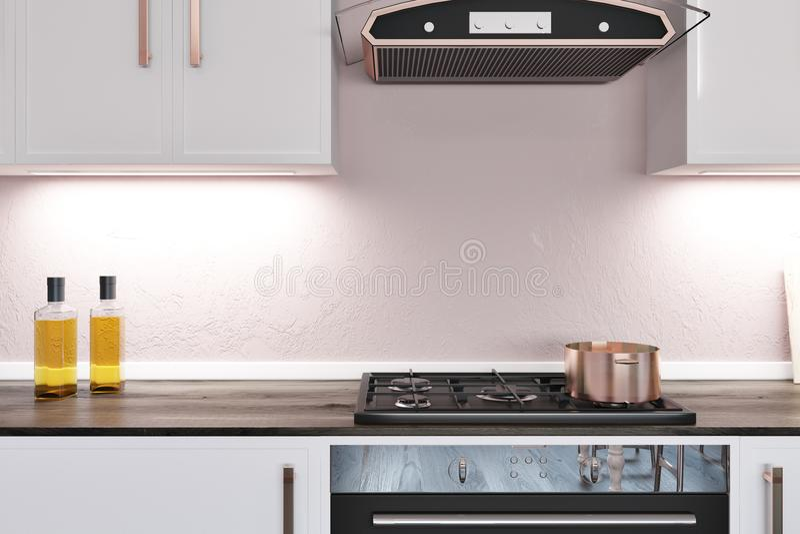 Счетчик кухни с плитаом иллюстрация вектора