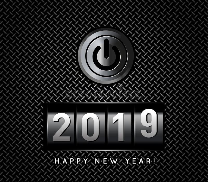 Счетчик 2019 Нового Года с иллюстрацией вектора кнопки силы иллюстрация вектора
