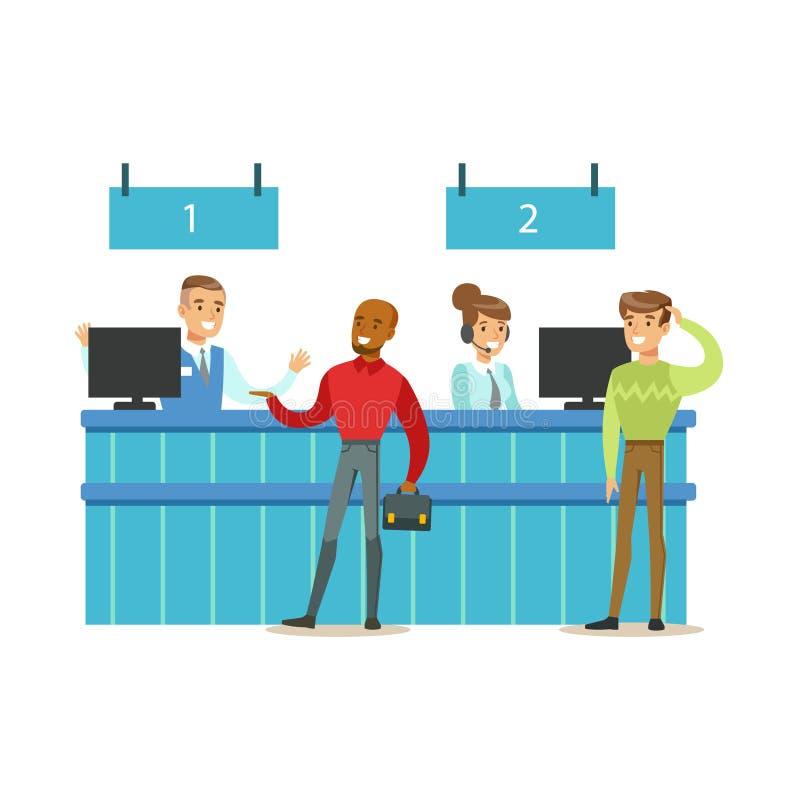 Счетчик обслуживания клиента с посетителями и работниками банка Банковские услуги, бухгалтерия и финансовые дела тематические иллюстрация штока