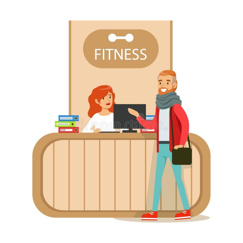 Счетчик приема фитнес-клуба с женскими работник службы рисепшн и компьютером с посещением члена клуба иллюстрация вектора