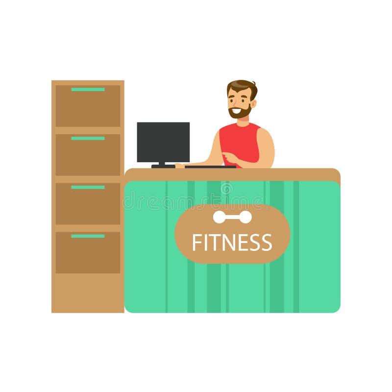 Счетчик приема фитнес-клуба с мужскими работник службы рисепшн и компьютером иллюстрация вектора