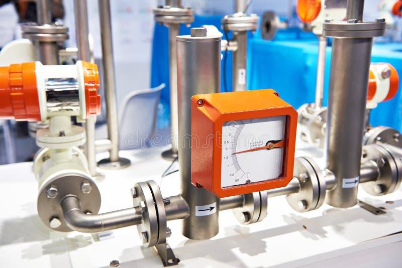 Счетчик- расходомер поплавка трубки металла стоковые изображения rf