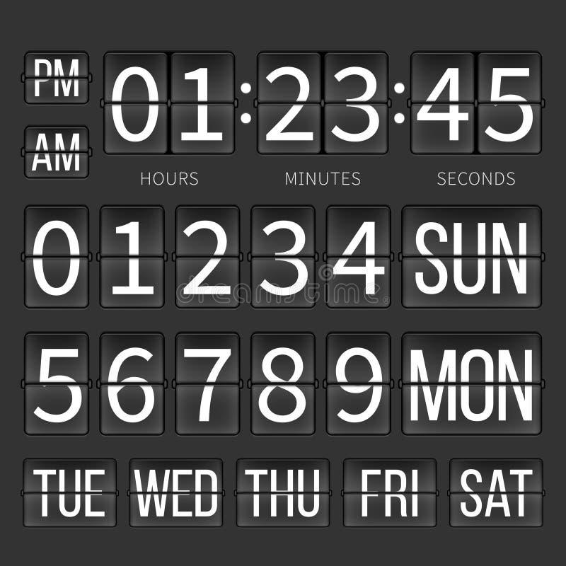 Счетчик таймера авиапорта, цифровые часы, календарь сальто иллюстрация штока