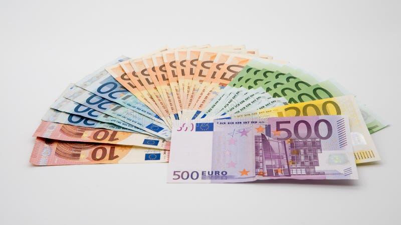 Счеты евро различных значений Счет евро 500 стоковая фотография