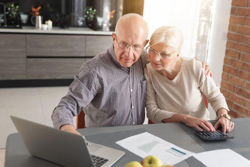 Счеты старших пар оплачивая совместно на ноутбуке стоковые изображения